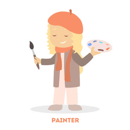 Little child play as an artist. Kid holding brush and palette. Girl standing and smiling. Flat vector illustration