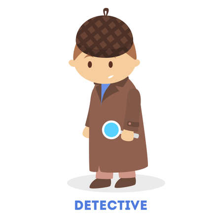 Little child play as a detective. Boy search for a clue. Kid with magnifier glass. Little inspector. Flat vector illustration