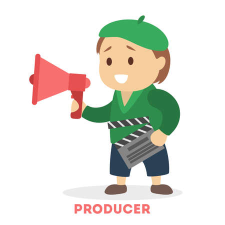 Child play as a film director. Kid shouting through megaphone. Cute boy with clapperboard. Flat vector illustration