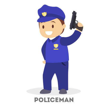 Child in uniform play as police officer. Cop profession. Blue costume and hat, toy gun in the hand. Isolated flat vector illustration
