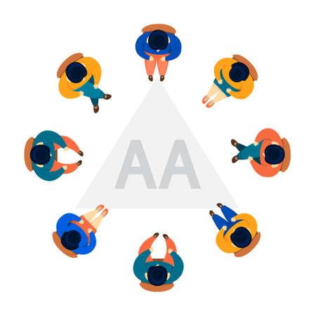 Konzept der Gruppentherapie. AA anonymes Treffen mit Alkoholikern Vektorgrafik