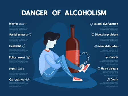 Danger of alcoholism infographic. Drunk alcoholic chained to the glass bottle. Police arrest, disability and cancer. Vector illustration in cartoon style