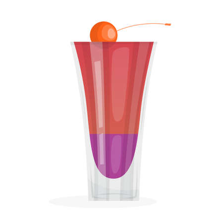 Cocktail. Red alcohol drink in a glass with cherry. Tropical summer beverage. Vector illustration in cartoon style  イラスト・ベクター素材