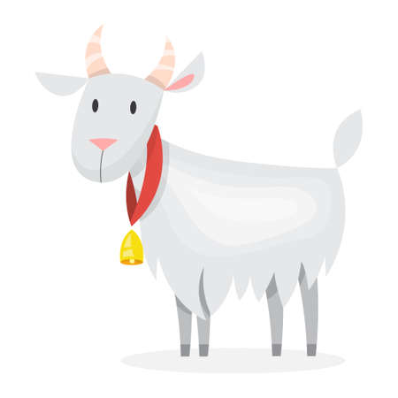 Cute goat from the farm. Domestic cattle animal with horn. Isolated vector illustration in cartoon style Illustration