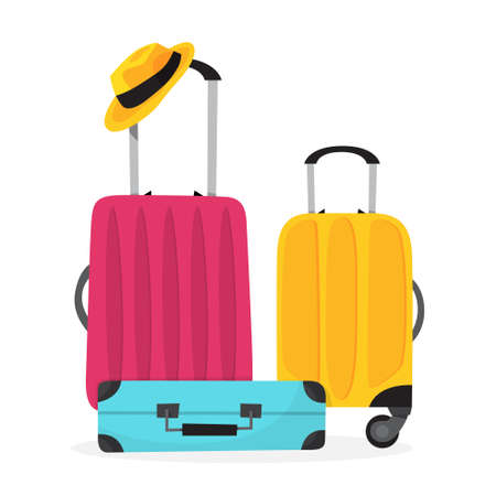 Baggage for travel. Big suitcase for a journey and adventure. Isolated vector illustration in cartoon style Vector Illustratie