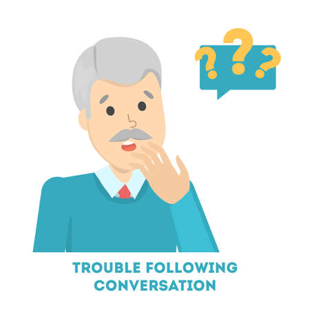 Man having trouble in following the conversation. Old male character suffer from alzheimer disease. Thoughtful face. Isolated vector illustration in cartoon style