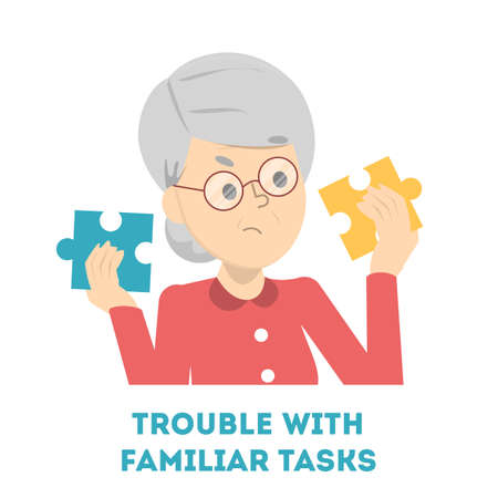 Old woman having trouble with familiar task. Alzheimer disease symptom. Confused person with a difficult problem. Adult in stress. Isolated vector illustration in cartoon style