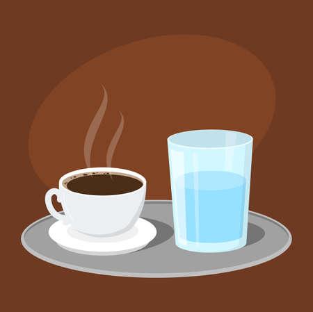 Café turc chaud et savoureux servi avec un verre d'eau. Boisson arabe traditionnelle. Boisson aromatique. Illustration vectorielle en style cartoon