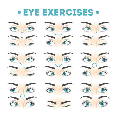 Eye exercise set. Collection of movement for eyes 向量圖像