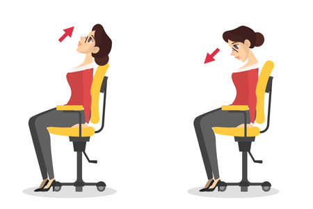 Mujer haciendo ejercicio para estirar el cuello en la oficina Ilustración de vector