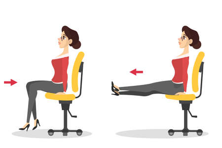 Mujer haciendo ejercicio sentado en la silla en la oficina. Entrenamiento durante el descanso. Estirar la pierna. Relajación corporal. Ilustración vectorial en estilo de dibujos animados