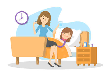 Mother gives pills to a sick child with fever. Ill kid lying in the bed under blanket. Girl suffer from flu or cold. Isolated vector illustration in cartoon style