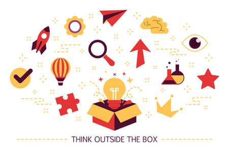 Think outside the box web banner. Creative thinking Illustration