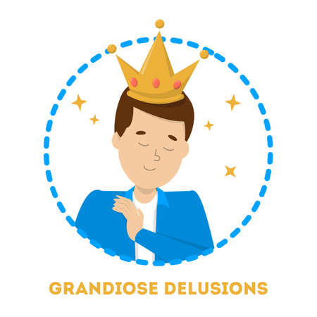 Grandiose delucion as symptom of schizophrenia and bipolar disorder. Mental disorder. Idea of illness and medical treatment. Isolated vector illustration in cartoon style