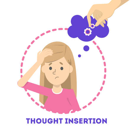 Feeling of thought insertion as symptom of schizophrenia and bipolar disorder. Mental disorder. Idea of illness and medical treatment. Isolated vector illustration in cartoon style Illustration