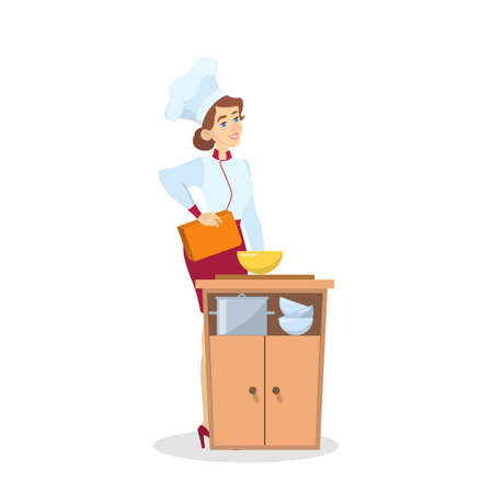 Restaurant chef cooking. Woman in apron making tasty dish. Professional worker on the kitchen. Isolated vector illustration in cartoon style