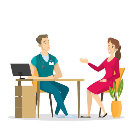 Female patient on a consultation with male doctor. Medical specialist in the office. Idea of healthcare and treatment. Isolated vector illustration in cartoon style