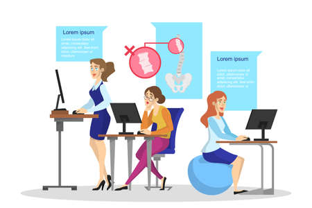 Ergonomics of workplace concept. Body posture for back health. Right and wrong position. How to sit on the chair at the office desk. Isolated vector illustration in cartoon style