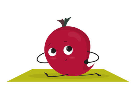 Funny beet character training in the gym. Stretching body. Healthy activity, fitness. Vegetable character. Vector illustration in cartoon style