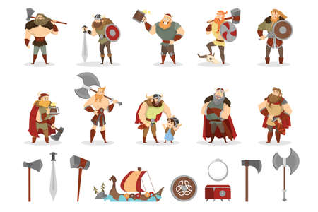 Viking set. Collection of warrior with weapon. Axe and sword, wooden shield. Group of strong man in armor and helmet. Isolated vector cartoon illustration Stock Illustratie