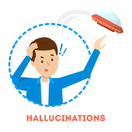 Hallucination concept. Man see UFO. Schizophrenia symptom, mental disorder. Person with psychiatric problem. Isolated vector illustration in cartoon style