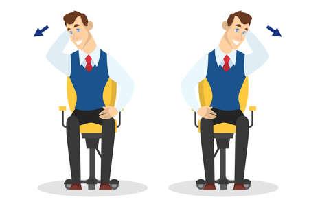 Homme faisant de l'exercice pour l'étirement du dos au bureau. Entraînement pendant la pause. Étirement du cou et des épaules. Détente du corps. Illustration vectorielle en style cartoon