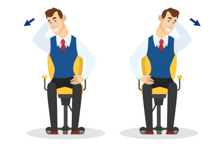 Man doing exercise for back stretch in office. Workout during the break. Stretching neck and shoulder. Body relaxation. Vector illustration in cartoon style