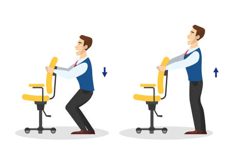 Man doing exercise for body stretch in office. Workout during the break. Body relaxation. Vector illustration in cartoon style Vetores