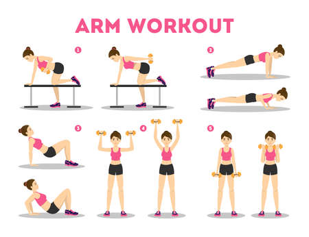 Arm workout for woman. Collection of exercise for slim