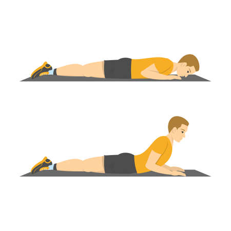 Man doing back extension exercise. Back stretch in the gym. Fitness and healthy lifestyle. No equipment workout for flexible body. Isolated vector illustration in cartoon style