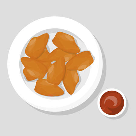 Chicken nuggets meal. Crispy snack with sauce. Fried fast food. Delicious dinner or lunch. Vector illustration in cartoon style