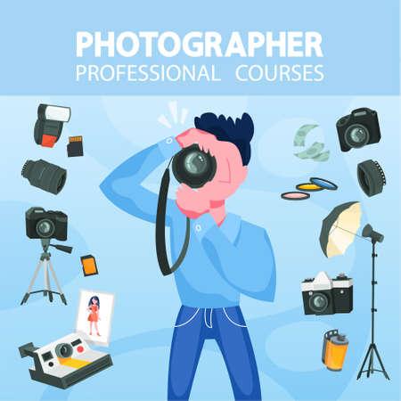 Concept de photographe. Photographe professionnel avec appareil photo. Métiers d'art et cours de photographie. Illustration vectorielle en style cartoon