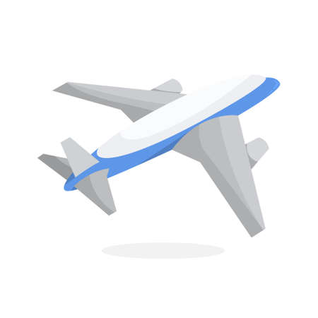 Plane symbol. Air transport silhouette. Airplane or aircraft, commercial flight. Passenger airliner. Isolated vector illustration in cartoon style