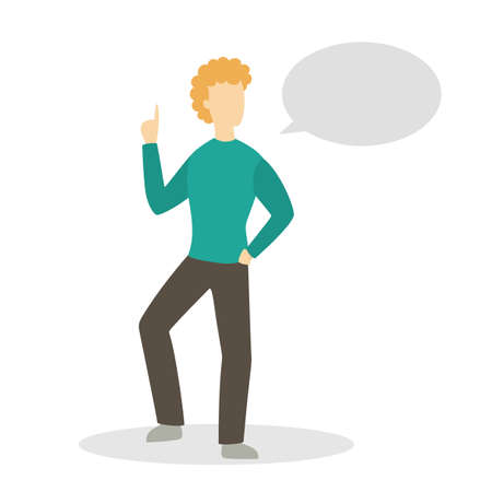 Man in casual clothes standing and talking with speech bubble above. Communication concept. Isolated flat vector illustration Иллюстрация
