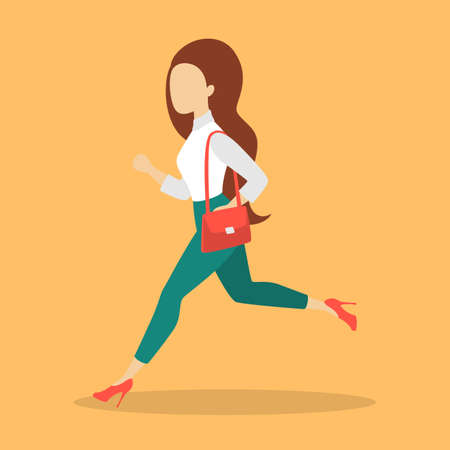 Businesswoman in a suit running. Female character in a hurry. Woman run to the work. Isolated flat vector illustration