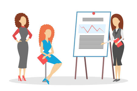 Woman making business presentation in front of group