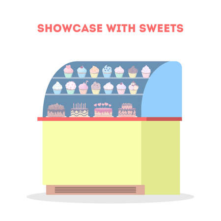 Showcase fool of tasty sweet cake and cupcake. Bakery design element. Candy shop concept. Isolated flat vector illustration