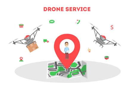 Drone delivery service concept.