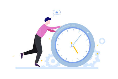 Time management concept. Idea of schedule and organization. Productive day and work optimization. Isolated flat vector illustration 向量圖像