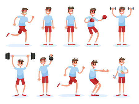Man doing various sport exercise set. Training in the gym, fitness activity. Muscle building concept. Vector illustration in cartoon style 向量圖像