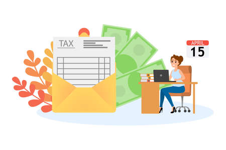 Tax concept. Idea of accounting and payment. Financial bill. Data in the document and paperwork. Flat vector illustration 일러스트