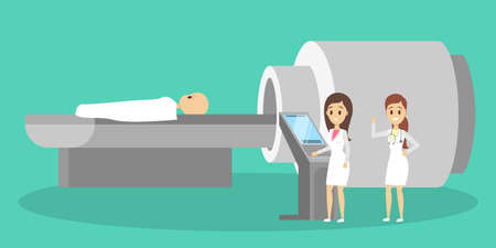MRI process. Young child lying in the MRI machine. Doctor making magnetic resonance imaging. Medical observation and healthcare. Vector flat illustration