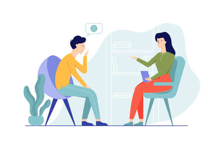 Sad man sitting on the chair talking to female psychologist. Visit to psychiatrist and depression treatment. Mental health professional. Isolated flat vector illustration