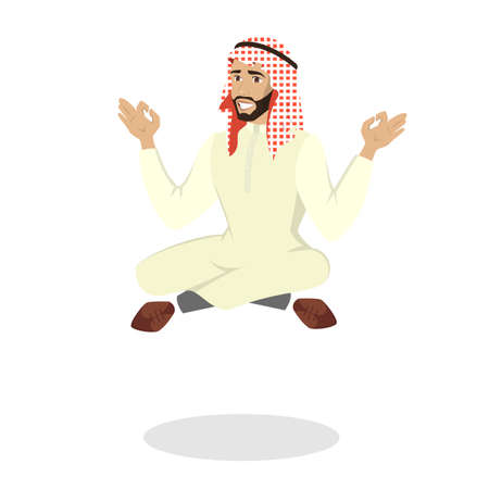 Arab businessman sitting in lotus pose. Meditation and relaxation. Muslim man in national clothes. Isolated vector illustration in cartoon style Illustration