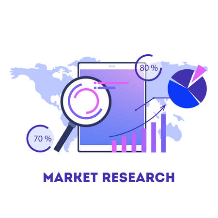 Market research concept. Business analysis, information and statistics. Data evaluation. Vector illustration in cartoon style Vetores