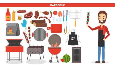 Barbeque set. Collection of equipment for bbq and camping. Pepper, sausage and meat. Man in apron cooking. Vector illustration in cartoon style