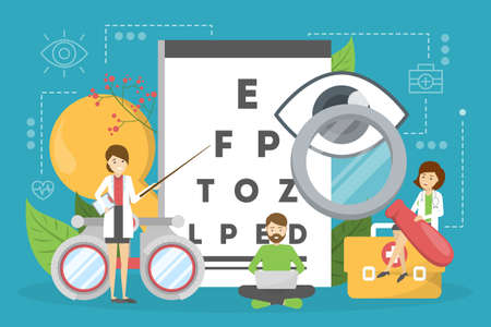 Ophthalmology concept. Idea of eye care and vision. Oculist pointing at eye test chart. Eyesight examination and correction. Vector illustration in cartoon style  イラスト・ベクター素材