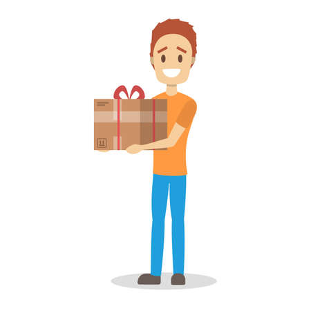 Delivery man. Courier in orange and blue uniform holding gift box. Character in a cap. Delivery service. Vector illustration in cartoon style