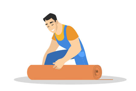 Man in the uniform laying carpet on the floor. Professional worker making house renovation. Putting linoleum on the floor. Isolated vector illustration in cartoon style