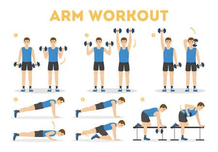 Entrenamiento de brazos para hombre. Ejercicio para brazos fuertes Ilustración de vector